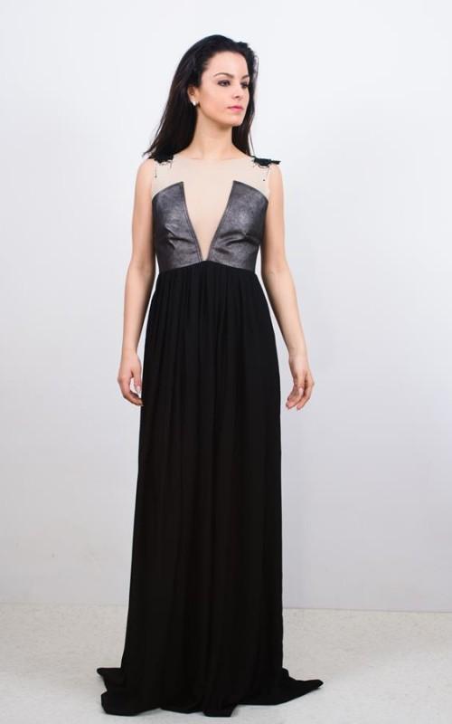 rochie din piele naturala si voal unicat
