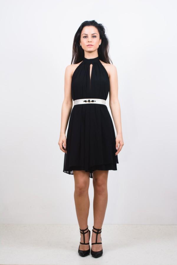 rochie neagra scurta din voal