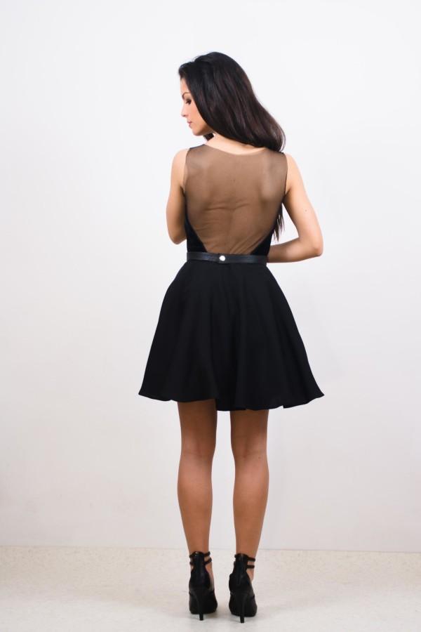 rochie scurta din voal si catifea cu aplicatii cristale
