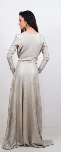 rochie lunga din lurex auriu