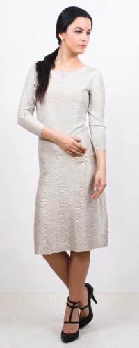 rochie midi din lurex argintiu-auriu