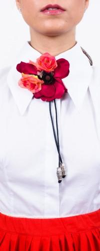 camasa alba din poplin cu detaliu flori