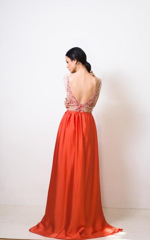 fusta lunga din voal satinat portocaliu