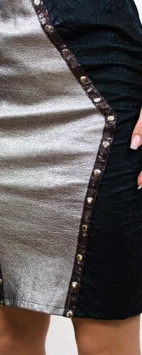 fusta din piele naturala si detalii din tinte metalice