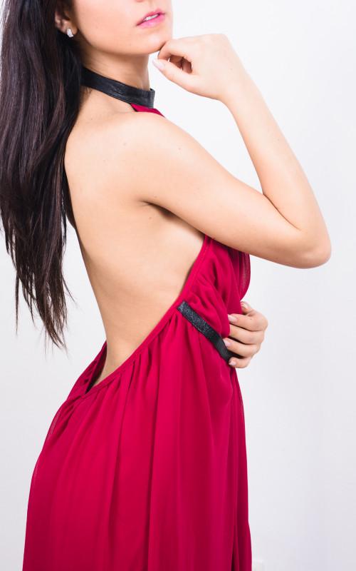 rochie maxi din voal si piele